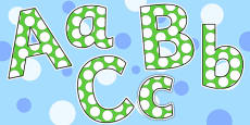 Green and White Spots Lowercase Display Lettering
