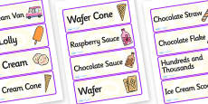 Ice Cream Van Role Play Labels