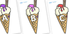 A-Z Alphabet on Ice Creams to Support Teaching on The Very Hungry Caterpillar