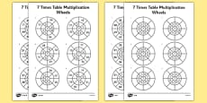 7 Times Table Multiplication Wheels Activity Sheet Pack
