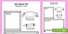 * NEW * All About Me Colouring and Drawing Activity Sheet English/Polish