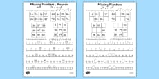 Missing Numbers Activity Sheet Urdu