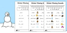 Winter Missing Sounds Worksheet