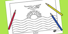 Kiribati Flag Colouring Sheet