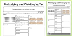 Multiplying and Dividing by 10 Activity Sheet