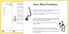 Area Word Problems Activity Sheet