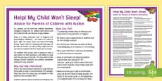 My Child Won't Sleep: Children with Autism Adult Guidance