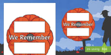 Remembrance Day We Remember Poppy Writing Template
