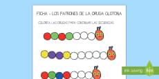 Ficha de actividad de patrones para ayudar la enseñanza de: La oruga glotona