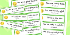 Giving Compliments Prompt Cards Arabic Translation
