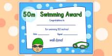 50m Swimming Certificate