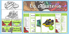 Shoe Shop Role Play Pack Spanish