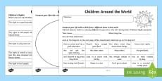Universal Children's Day: Children Around the World Activity Sheet