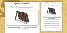 My Desert Island Shelter Pirate Activity Sheet