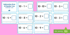 Subtraction from 10 Number Line Challenge Cards