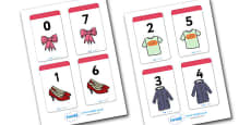 Number Bonds to 7 Matching Cards (Clothing)