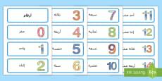 بطاقات كلمات الأرقام