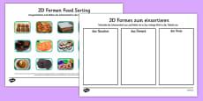 Food 2D Shape Sorting Activity German