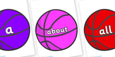 100 High Frequency Words on Basketballs
