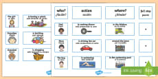 Everyday Sentence Building EAL Cards English/Spanish