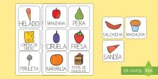 Tarjetas de vocabulario de la comida para ayudar en la enseñanza de: Le pequeña oruga glotona