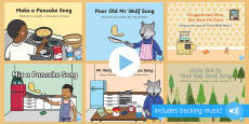 Songs and Rhymes PowerPoints Pack to Support Teaching on Mr Wolf's Pancakes