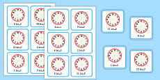 Write the Time O'Clock Cards Arabic