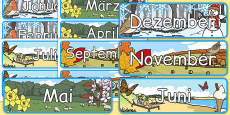 Months of The Year With Seasons Theme Display Posters German
