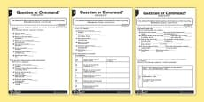 Question or Command Differentiated Activity Sheets Mandarin Chinese Translation