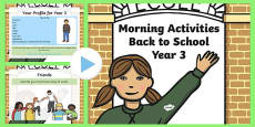 Year 3 Back to School Morning Activities PowerPoint 1 Week