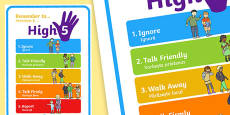 High Five How To Deal With Bullying Large Display Poster Romanian Translation