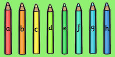 A-Z Alphabet on Coloured Pencils (Small)