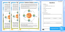 Summer Solstice Differentiated Go Respond Activity Sheets