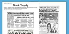 Titanic Tragedy Activity Sheet
