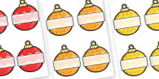 Christmas Self Registration Baubles Patterned Editable