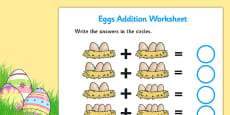 Eggs in Nests Addition Sheet