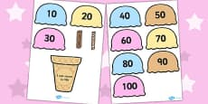 Counting in 10s Ice Cream Cone Ordering Activity