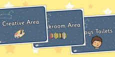 Leo Class Constellation Themed Classroom Area Signs