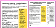 Foundation PE (Reception) - Creating a Sequence Home Learning Challenge Sheet
