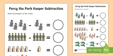 Subtraction to Support Teaching on Percy the Park Keeper Activity Sheet