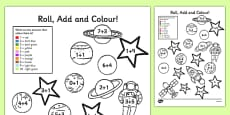 Space Add and Colour Addition Activity Sheet