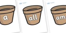 Foundation Stage 2 Keywords on Flower Pots (Plain)