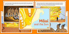Māui and the Sun Short Story Sequencing Cards