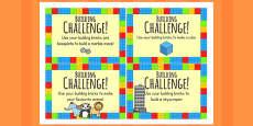 Buidling Brick Challenge Cards