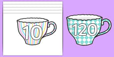 Numbers 10-120 on Teacups