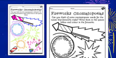 Firework Onomatopoeias Activity Sheet