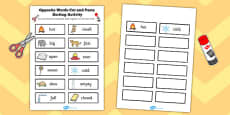 Opposite Words Cut and Paste Sorting Activity