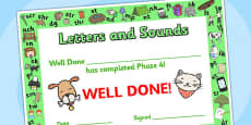 Letters and Sounds Award Certificates Phase 4