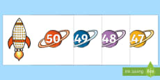 Rocket and Planet Number Matching Set