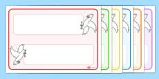 Editable Dove Themed Name Cards